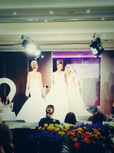 The models strut their stuff for Amanda Wyatt's Blue Iris bridal collection