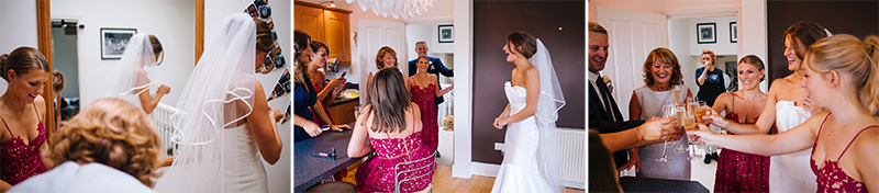 bridesmaids preparation with lovely bride