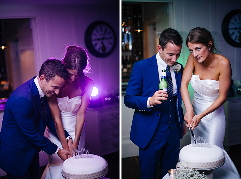 cake cutting at the Great John Street Hotel wedding photography