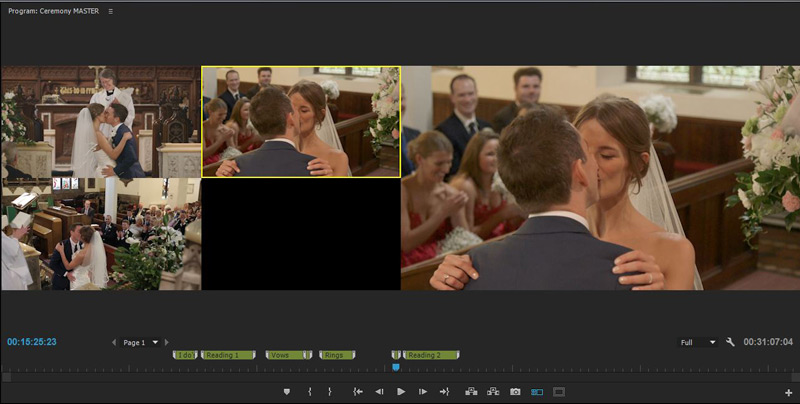 wedding video editing multicamera first kiss
