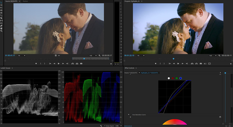 wedding video editing colour grading