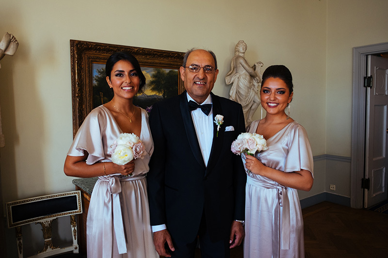bridesmaids with father of the bride Stockholm
