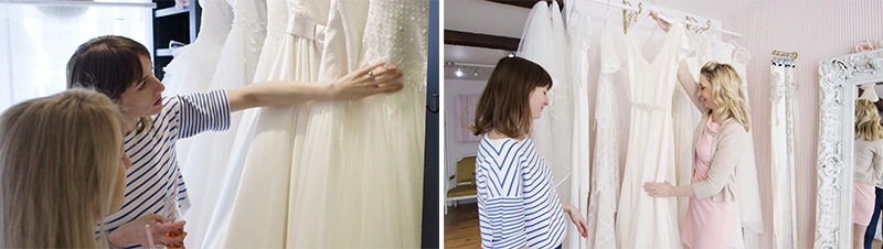 browsing the dresses at Felicity Cooper