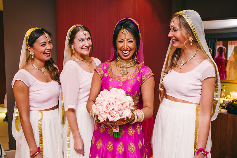 bride and bridesmaids Indian wedding