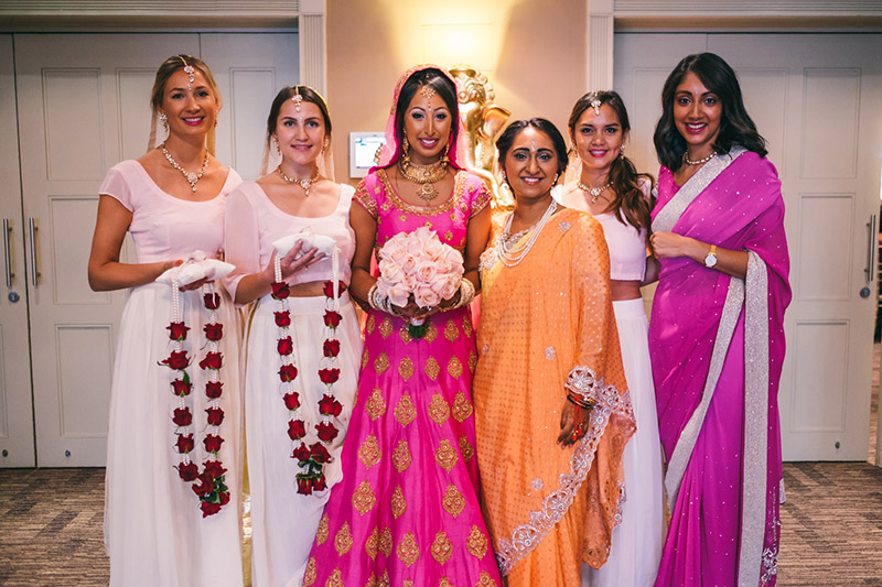Indian wedding photography bride and bridesmaids