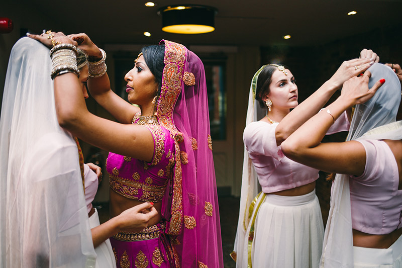 bride and bridesmaids Indian wedding Cheshire