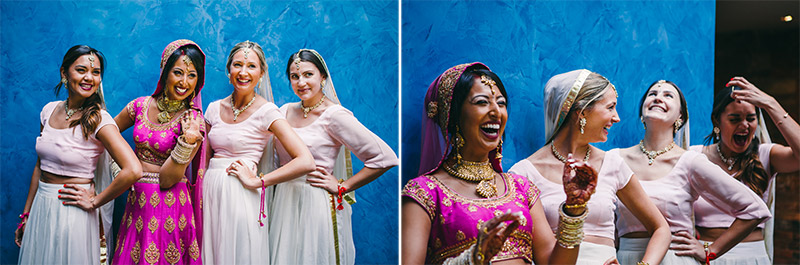 fun bride and bridesmaids shot Indian wedding